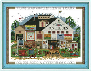 Joy Sunday Counted Cross Stitch Kit 14 CT Shopping Festival 16 * 13in Embroidery