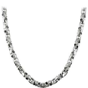 Mens Medium Size Twisted Bullet Link Chain in Sterling Silver 24 Inches