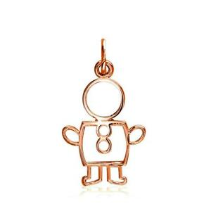 Small Cookie Cutter Boy Charm for Mom Grandma in 18k Pink Gold