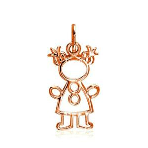 Small Cookie Cutter Girl Charm for Mom Grandma in 18k Pink Gold