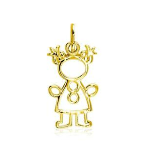 Small Cookie Cutter Girl Charm for Mom Grandma in 18k Yellow Gold