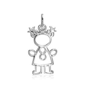 Small Cookie Cutter Girl Charm for Mom Grandma in 18k White Gold