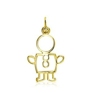 Small Cookie Cutter Boy Charm for Mom Grandma in 18k Yellow Gold