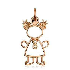 Large Cookie Cutter Girl Charm for Mom Grandma in 18k Pink Gold