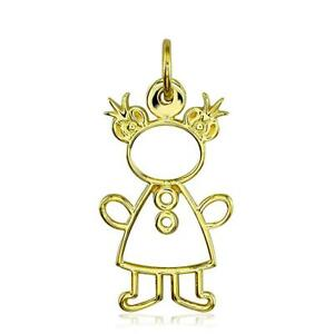 Large Cookie Cutter Girl Charm for Mom Grandma in 18k Yellow Gold