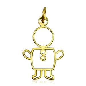 Large Cookie Cutter Boy Charm for Mom Grandma in 18k Yellow Gold