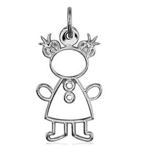 Large Cookie Cutter Girl Charm for Mom Grandma in 18k White Gold