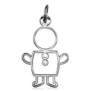Large Cookie Cutter Boy Charm for Mom Grandma in 18k White Gold