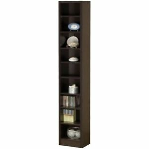 Bowery Hill Narrow Bookcase in Cappuccino