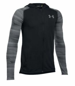 UNDER ARMOUR UA BOYS ARMOUR THREADBORNE FULL ZIP HOODIE SMALL RED BLACK NEW NWT $10.95