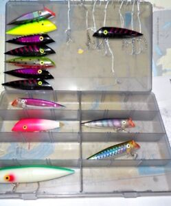 12 Salmon Lures in Plano Box w Hooks - 7 Luhr Jensen