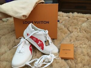 LOUIS VUITTON Supreme Sport Sneakers Shoes White Red Monogram Authentic 6 Or 40