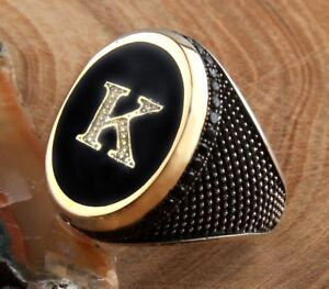 turkish jewelry 925 Sterling Silver PERSONAL onyx Mens Mans ring ALL SİZE us 75