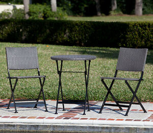 3-Piece Mocha Resin Bistro Patio Dining Set Outdoor All Weather Furniture NEW