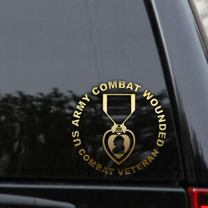 Army Combat Wounded Medal Purple Heart Decal Sticker Window Laptop Bumper