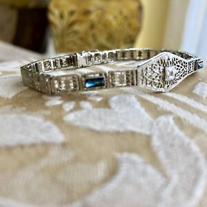 14 K White Gold diamond and sapphire Art Deco filigree bracelet 7 14 inch long