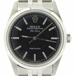 Rolex Air King Mens Stainless Steel Watch Jubilee Style Band Black Dial 14000 $3771.98
