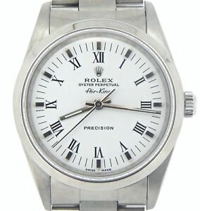 Rolex Air King Mens Stainless Steel Watch Oyster White Dial w Black Roman 14000 $4139.98