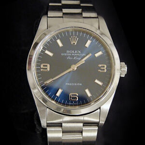 Rolex Air King Mens Stainless Steel Watch Oyster Bracelet Blue Arabic Dial 14000 $4323.98