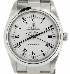 Rolex Air King Mens Stainless Steel Watch White Dial Black Roman Oyster 14000M $4323.98