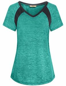 Miusey Exercise Tops for Women Girls Dry Fit Shirts Short Sleeve Raglan Althe...