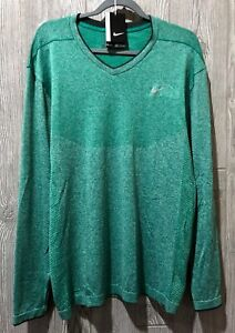 NIKE GOLF Dri Fit Seamless Knit V Neck Green LS Top Shirt NEW Mens Sz XL 2XL