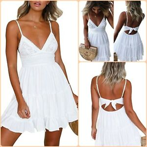 Casual Cocktail Short Mini Dresses For Women Swing Sleeveless White Floral Sexy