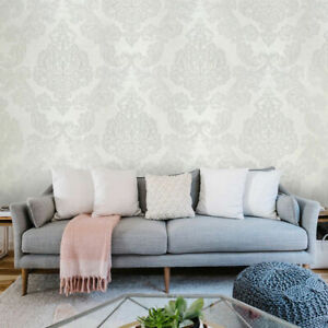 Embossed Wallpaper white Textured Large Victorian traditional Damask textures 3D
