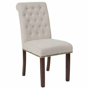 Flash Furniture Fabric Parson Dining Side Chair in Beige