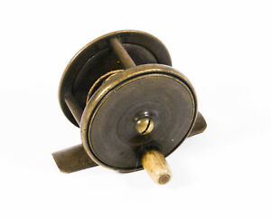 Small 2 inch Antique Brass Platewind Fly Fishing Reel with Bone Handle