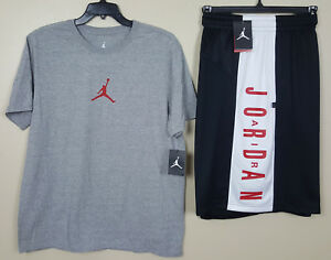 NIKE AIR JORDAN OUTFIT SHIRT + DRI-FIT SHORTS GREY RED BLACK RARE NEW (SIZE XL)