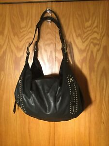 B. Makowsky Black Leather with Studs and Buckled Straps Shoulder Bag