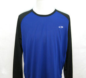 CHAMPION Mens Blue & Black Long Sleeve Duo-Dry Athletic T-Shirt Size XL Fitness