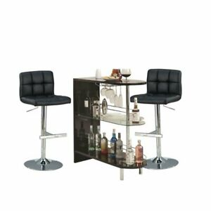 3 Piece Pub Set with Pub Table and Set of 2 Bar Stools in Black