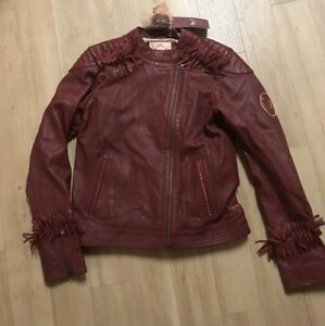 Scotch R'Belle Red Grained Leather Biker Jacket  Girl's Size 16 Barneys NWT $246