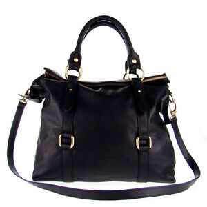 STUDIOMODA Italian Made Natural Black Leather Large Designer Carryall Tote Bag