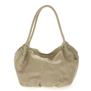 Cosette Italian Made Dove Gray Soft Leather Slouchy Designer Hobo Shoulder Bag