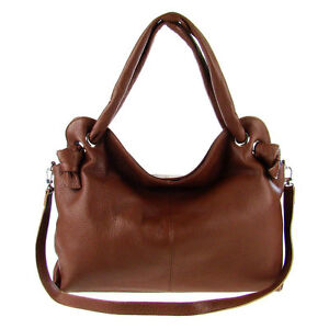 Italian Made Brown Leather Large Designer Carryall Tote Handbag by M.A.P. ITALY