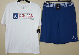 NIKE JORDAN XII 12 OUTFIT SHIRT + SHORTS WHITE FRENCH BLUE RARE NEW (SIZE XL)