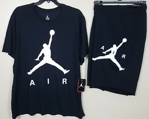 NIKE AIR JORDAN JUMPMAN DRI-FIT SHIRT + SHORTS OUTFIT BLACK WHITE NEW (SIZE 3XL)