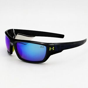 Under Armour Assert Sunglasses Shiny BlackBlue Lens UA 8600042-5161