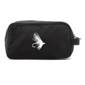 Fly Fishing Lure Hook Canvas Shower Kit Dual Compartment Travel Toiletry Bag