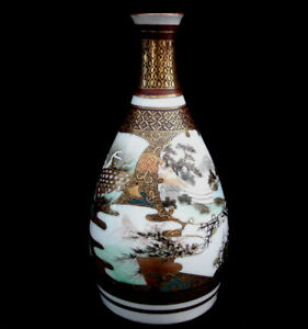 7 MARKED Kutani Yaki JAPANESE MEIJI PERIOD SATSUMA SAKE BOTTLE VASE