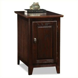Leick Furniture Cabinet Storage End Table in a Chocolate Oak Finish