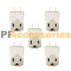 5 Pcs 3 Prong to 2 Prong Outlet Electrical Ground AC Adapter Grounding Converter