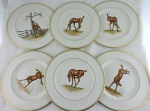 ABERCROMBIE FITCH VINTAGE EQUESTRIAN BABY HORSE PLAY DINNER PLATE SET 6 SIGNED