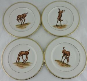 ABERCROMBIE FITCH VINTAGE EQUESTRIAN BABY HORSECOLT SALAD PLATE SET 4 SIGNED