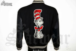 🔥VTG Dr Seuss Cat In The Hat Cartoon Wool Leather Varsity Bomber Jacket 90s ML