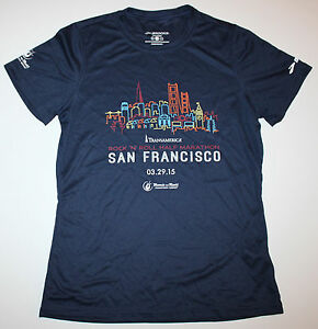 Brooks Women's Medium Navy Blue Running Jogging Shirt San Francisco Marathon New