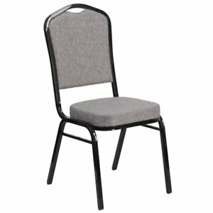 Flash Furniture Fabric Banquet Chair in Black and Gray